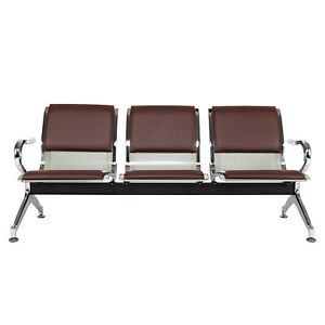 3 seat Pu Leather Waiting Room Chair Bench Airport Reception Chairs With Arms