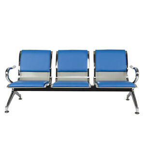 3 seat Waiting Room Chair Office Reception Bench Guest Sofa Seat Pu Leather Blue