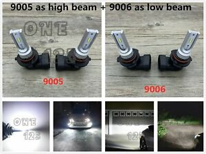 9005 9006 Combo Led Headlights Bulbs Kit High Low Beam Super Bright 6000k White