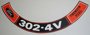 Ford Mustang 302 4v Air Cleaner Decal Exactly Like Ford Made 183