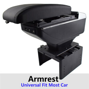 Armrest Central Console For Universal Leather Content Usb Sliding Cup Holder