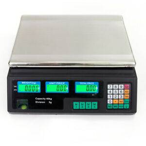 40kg 5g Digital Weight Scale Price Computing Food Meat Produce Deli Market 88lb