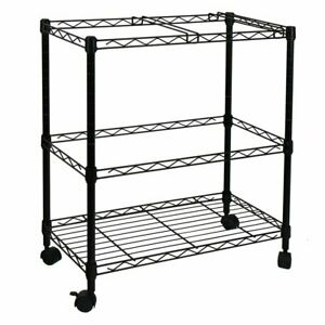 2 Tiers Layer Metal Rolling Mobile File Cart Organizer Office Supplies W Wheels