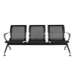 Waiting Room Chairs With Arms Reception Bench Airport Lobby Chairs 3 seat Black