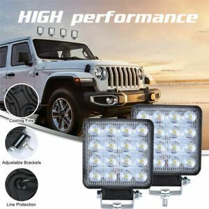 2pcs 4 Inch Led Work Light Pods 160w Square Spot Beam Offroad Driving Light Bar