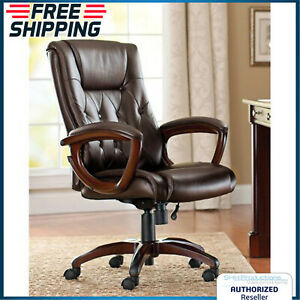 Heavy Duty Office Chair Leather Rolling High Back Computer Executive Seat Brown