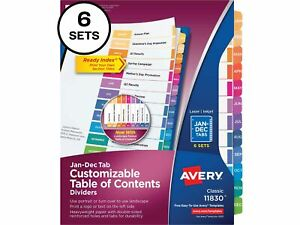 Avery Pre printed Monthly Dividers Customizable Table 11830