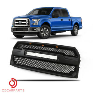 Fits Ford F150 2015 2017 Front Upper Grille Raptor Style With Led Light Bar