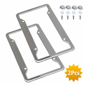 2pcs Silver Stainless Steel Metal License Plate Frame Tag Cover W Screw Caps Us