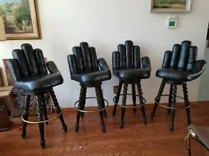 Mid Century Black Leather Power Hand Fist Glove Barstools W Twisted Wood Legs