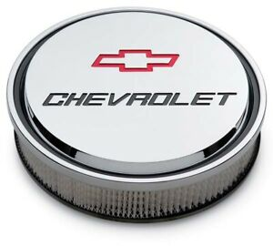 Proform 141 835 Slant Edge Chevy Bowtie Chrome Recessed Logo 14 Air Cleaner