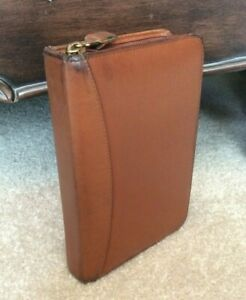 Pocket 1 Brown Full Grain Aniline Leather Franklin Covey Zip Planner Binder