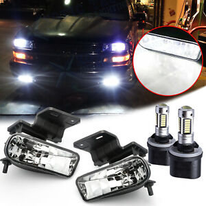 Clear Lens White Led Fog Light W Bracket For Chevy 1500 2500 3500 Suburban Tahoe