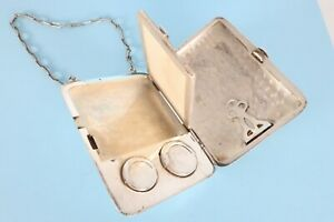 Antique Sterling Silver Coin Case Purse Aide Memoire Mirror American Whiting Co