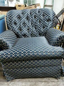 Pembrook Chair Corp Club Chair Blue Fabric Gold Crossed Rope Lozenge Pattern