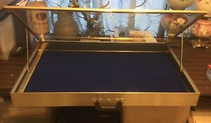 Portable Aluminum Glass Display Gold Showcase With Blue Felt Pad Made In Usa