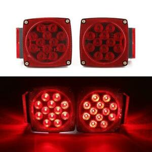 1pair Led Square Red Trailer Turn Signal Stop Light Set Submersible Dot Under 80