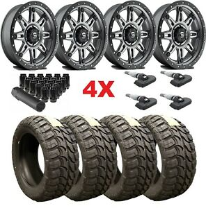 20 Anthracite Gray Wheels Rims Tires 33 12 50 20 33x12 50r20 Mud Fuel F 150