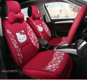 Hello Kitty Cartoon Car Seat Covers Set Universal Car Interior Red Color New