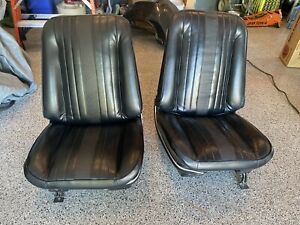 1969 1970 1971 1972 Gto 442 Gs Chevelle Black Bucket Seats Tracks Original Gm
