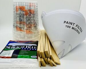 Paint Refinishing Kit Mixing Cups Strainers Wood Paint Paddles Tack Cloth