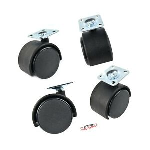 1 5 Inches Black Nylon Twin Wheel Swivel Plate Caster With 20 Screws 4 Sets