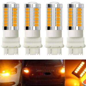 4pcs Amber 3157 3457 3057 Signal 33smd Backup Reverse Tail Turn Led Light Bulb