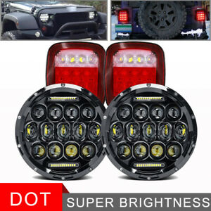 7 Inch Led Headlights Tail Lights Rear Brake Lamps For Jeep Wrangler Tj Cj 76 06