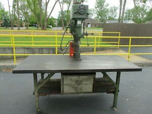 Used Clausing 20 Variable Speed Drill Press W custom Table Foot Switch