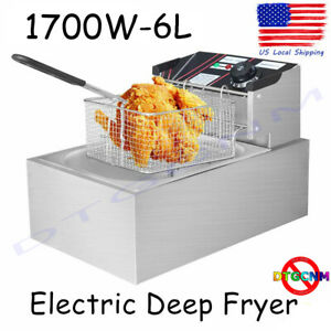 Electric Deep Fryer Cooker Home Countertop 1 Basket Fries 6 L Stainless Steel