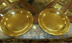Tiffany Co Sterling Silver Gilt Large Charger Serving Plates Cr 1910 2 Pc
