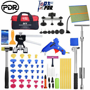 Pdr Diy Repair Kit Car Hail Paintless Dent Puller Lifter T Bar Hammer Light Tool