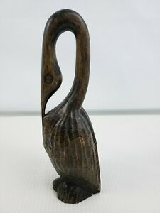 Vintage Carved Wooden Long Curved Bill Bird Sculpture 11 3 4 Inches High