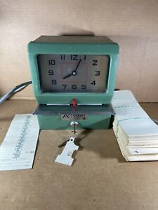 Acroprint Electric 150nr4 Time Clock With Key And Timesheets Punch
