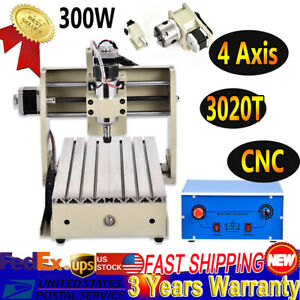 300w 4axis 3020 Cnc Router Engraver Machine For Wood Carve Engraving Cut Milling