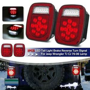 Led Tail Lights Stop Reverse Rear Brake Turn Lamps For Jeep Wrangler Tj Cj 76 06