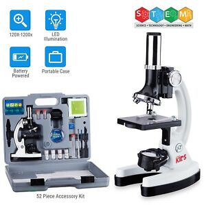 Amscope 52pc 120x 1200x Starter Compound Microscope Science Kit For Kids white