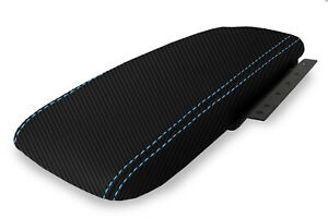 Console Armrest Cover Carbon Fiber For Ford Crown Victoria 03 11 Blue Stitch