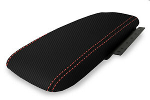 Console Armrest Cover Carbon Fiber For Ford Crown Victoria 03 11 Red Stitch