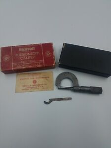 Starrett One Inch Micrometer 203 c With Original Box And Wrench