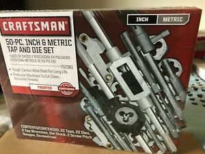 Brand New Craftsman 50 Pc Pieces Piece Sae Metric Tap Die Set Pipe 52381 Sealed
