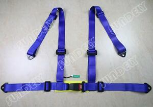 Sundely High Quality Blue Racing Seat Belt 4pt 3 4point Safety Harness Brand New