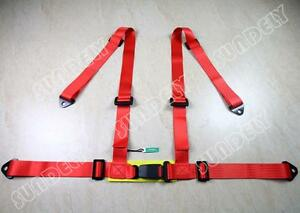 Sundely Vehicle 3 4 Point Racing Safety Harness Strap Seat Belt Bolt In Red Car