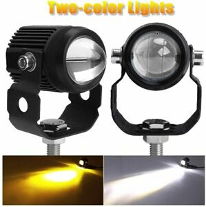 Pair Motorcycle Led Auxiliary Lights Flood White Yellow Led Driving Fog Lights