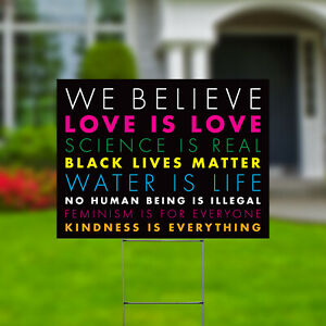 We Believe Black Lives Matter Yard Signs Double Side 24x18 H Stakes Colorful