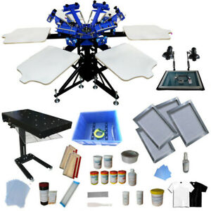 6 Color 6 Station Screen Printing Kit Screen Press With Flash Dryer Uv Exposure