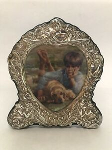 Vintage English Sterling Silver Picture Photo Frame Rc Carrs Angels Flowers