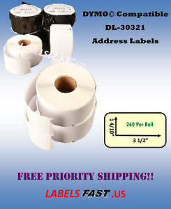 30321 Dymo Duo Compatible 400 450 Twin Turbo Address Labels Large White Rolls
