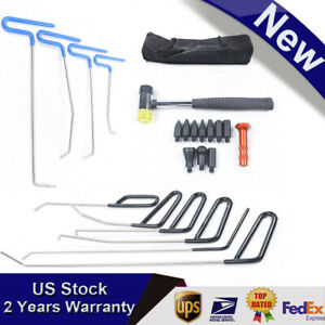22x Pdr Tools Push Rods Spring Steel Kit Paintless Dent Repair Hail Removal Tool