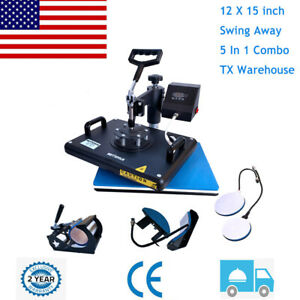 5 In 1 Heat Press Machine Digital Transfer Sublimation Plate T shirt Mug 12 x15